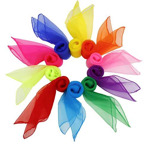 Tanz Tücher 20 stück Bunt Square Jongliertücher Performance Schals für Kindergarten Kinder Mädchen Party-Aktivitäten Zubehör Dekoration 60 x 60 cm 10 Farben -