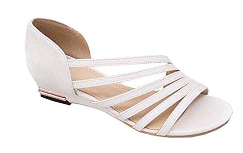 2014 Novas Sandálias De Moda Verão Sandálias Romanas Das Mulheres Ocas Sapatos Baixos Calcanhar, Sapatos Casuais Dimensionar 35-41 Senhora Branca