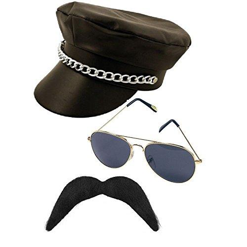 YMCA Man Sofias Schrank Herren Kostüm-Requisiten, Schnurrbart, Hut, aus PU-Leder, Motiv Gay (Das Kostüm Schrank)