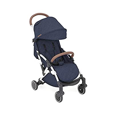 Ickle Bubba Baby Strollers | Lightweight and Portable Stroller Pushchair | Folds Slim for Ultra Compact Storage | UPF 50+ Extendable Hood and Rain Cover | Globe, Denim Blue/ Silver