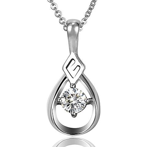 Donna collane della catena in acciaio inox Chain Link Strappi Water Drop Bianco CZ di AieniD