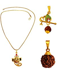 Menjewell Rudrakasha Spiritual Gold Plated Ganesha ,Shri Krishna Bansuri With Rudraksha Pendant Combo For Men & Boy
