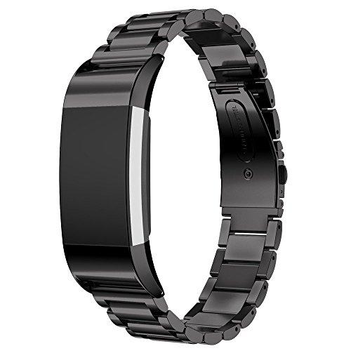 EloBeth für Fitbit Charge 2 Armband, Edelstahl Replacement Wrist Band Uhrenarmband mit Metallschließe Uhrenarmband für Fitbit Charge 2 (Stainless Schwarz)