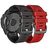NotoCity Armband für Garmin Fenix 3 26mm Silikonband Easy Fit für Fenix 5X / Fenix 5X Plus/Fenix 3 / Fenix 3 HR (Rot+Schwarz)