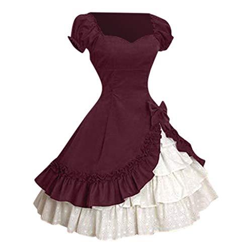 POPLY Damen Vintage Lolita Style Slim Taille Swing Rock Bow Stitching Cascading Gekräuselten Party A-Line Prinzessin Kleid Kurzarm Square (Army Style Dance Kostüm)