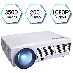 """5.8"""" LCD Proyector, 3500 Lúmenes Proyectores con 200 Pantalla, Soporta Video Full HD 1080P, WiMiUS T6 Proyector de Cine en Casa, 50000 Horas, para Conectar Tablets/ TV Stick/ PS4/ Xbox, Blancho"""