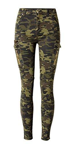 iRachel Women's Military Camouflage Side Zipper Pockets Skinny Pants -