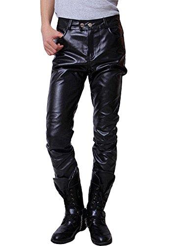 Runyue Pantaloni In Pelle Faux Da Uomo Ecopelle Slim Moto Elasticizzati Zip Biker Pantaloni Nero 2XL