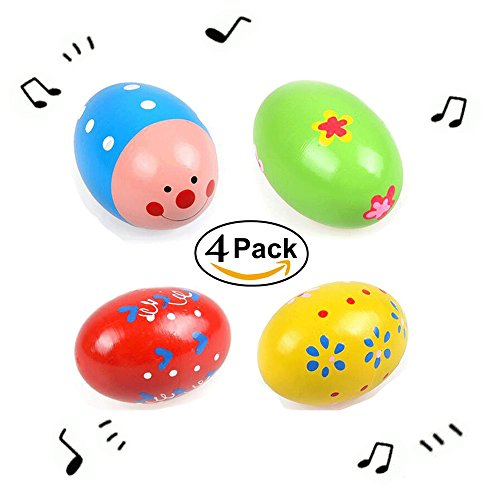 Simuer 4 Pack Percussion Musical Easter Maracas Egg Shakers for Basket Stuffers Fillers, Spring Gift Set Bundle, Easter Hunt, Party Favors, Classroom Prize Supplies, Musical Instrument Toys - Rattle Favor Party