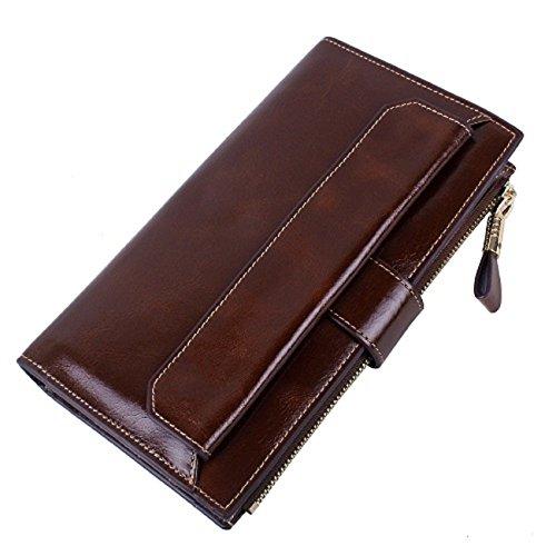 Yvonnelee Donne Della Signora Frizione Lungo Della Borse Borsa cuoio genuino Della Carta Portafoglio Leather Titolare Portamonete Marrone