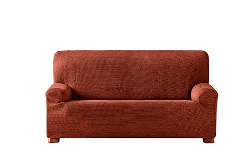 Eysa Aquiles Copridivano Elastico 3 Posti, Poliestere-Cotone, Arancione, 37x29x9 cm