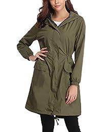 ccc84b3fcc8 Veste de Pluie Femme Manteau Imperméable Poncho Pluie à Capuche Zippé Cape  de Pluie Manches Longues