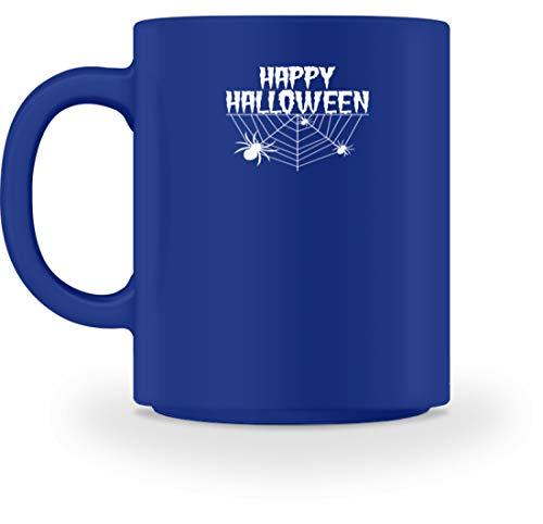 SPIRITSHIRTSHOP Happy Halloween - Spinnennetz und Spinne - Tasse -M-Royal Blau