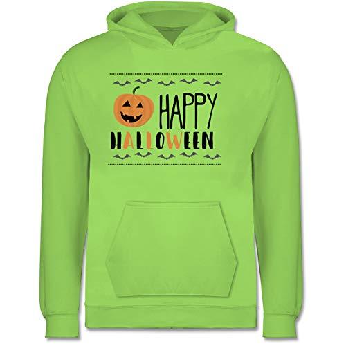 Shirtracer Sprüche Kind - Happy Halloween Kürbis - 9-11 Jahre (140) - Limonengrün - JH001K - Kinder Hoodie (Playboy Hexe Kostüme)