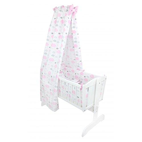 TupTam Unisex Baby Wiegen-Bettwäsche-Set 6-TLG, Farbe: Wolken Rosa/Weiß, Anzahl der Teile:: 6 TLG. Set