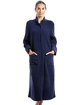Vestaglia da donna in morbido pile - chiusura a bottoni - fantasia floreale - blu navy