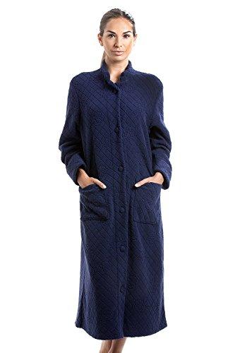 Robe de Chambre Longue - à Boutons/en Polaire Douce - Motif Floral - Bleu Marine 44/46