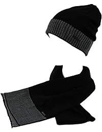 GIANMARCO VENTURI Set sciarpa e cappello uomo 100% acrilico in box 71805  nero e425677b07b6