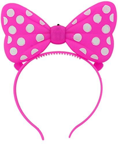 GYD Schleife LED Kinder Haarschmuck, auch für Fasching Karneval oder Kindergeburtstag (Pink) (Led Mickey Mouse Kostüm)