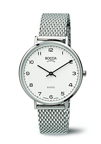 Boccia Women's Quartz Watch with White Dial Analogue Display and Silver Titanium Bracelet B3590-08