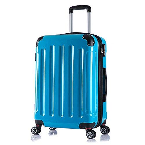 WOLTU RK4212ts-L , Reise Koffer Trolley Hartschale 4 Rollen mit erweiterbaren Volumen Reisekoffer Hartschalenkoffer Zwillingsrollen groß M / L / XL / Set leicht & günstig Türkis (L 67 cm & 70 Liter)