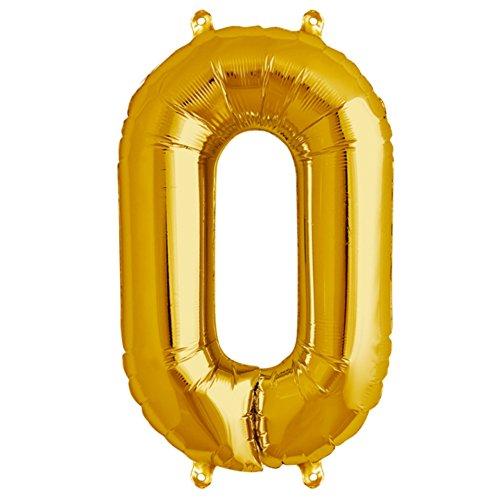 """ballonfritz® Ballon Zahl 0 in Gold - XXL 40""""/102cm - Folienballon für Luft oder Helium als Geburtstag, Jubiläum, Hochzeit oder Abschluss Geschenk, Party Dekoration oder Überraschung"""