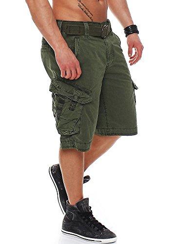 Jet Lag Herren Cargo Shorts Take off 3 (16) mit Gürtel Olive