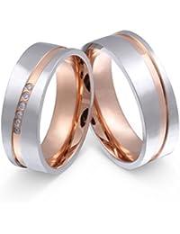 Juwelier Schönschmied - Zwei Eheringe in roségold Hochzeitsringe Partnerringe Bicolor Reina Edelstahl Zirkonia inkl. persönliche Lasergravur LANr207HD