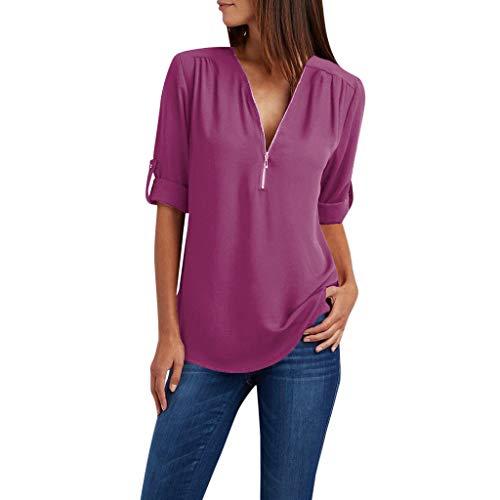 adbee35ce0 KEERADS-Vêtements T-Shirt Femme Chemisier Couleur Unie Manches Longues