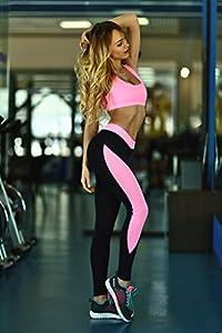 ALAIX Damen 2 Stück Sport Anzug Strumpfhosen Yoga-Übung Hosen-Gamaschen