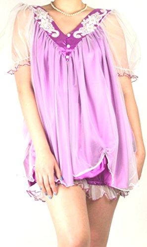 Damen Retro Night Bett Spitze und Satin Kostüm Sleep Wear Gr. L/XL, Purple (Plus Size Kostüme Doll)