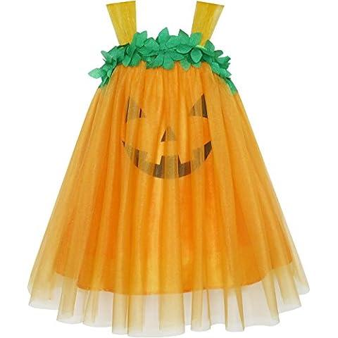 Sunny Fashion - Vestito tinta unita, bambina, arancione