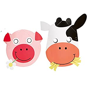 Amscan – 9900389 – 8 Masks Fun Farm – One size