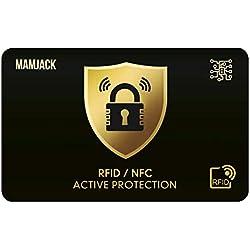 Carte Anti RFID/NFC Protection Carte bancaire sans Contact 1 Suffit, Fini Les Etuis pour Carte de crédit, Cartes Bleues, CB, Passeport. Bloquage RFID, Edition LIMITÉE Stock LIMITÉ (Black)
