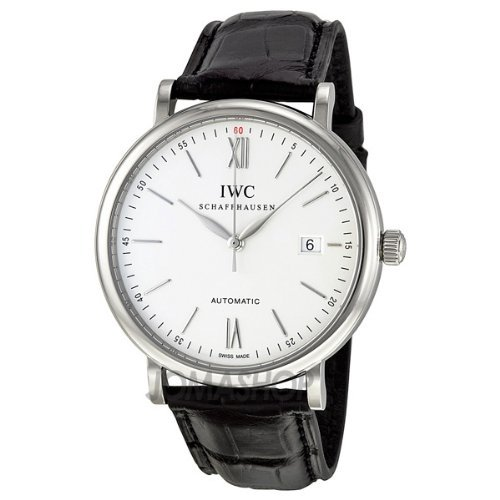 iwc-mens-portofino-40mm-black-leather-band-steel-case-automatic-silver-tone-dial-analog-watch-iw3565