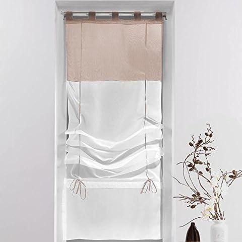 Rideaux 45x180 - Douceur d'Intérieur Store Forme Droite Voile Polyester