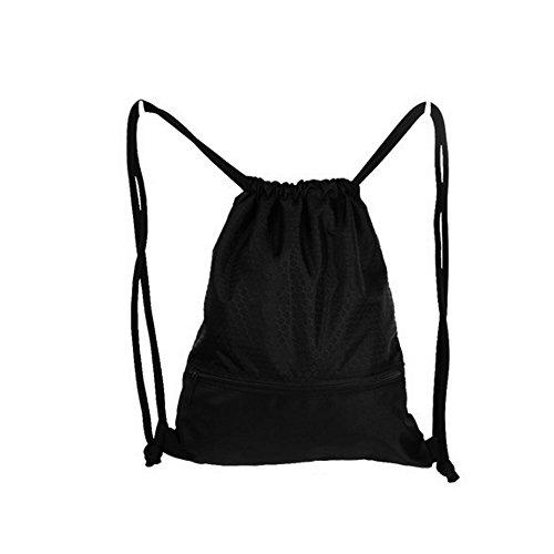 oumeiou gimnasio saco bolsa de cordón, impermeable baloncesto mochila grande con cremallera para Camping, Yoga, Senderismo, Ciclismo, negro