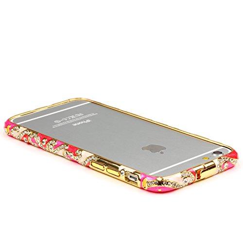 Original UrCover® Apple iPhone 6 Schutz Hülle Aluminium Bumper Diamond Zubehör Hülle Case Cover Alu Cover Metal Weiß Pink / Weiß Glasfolie
