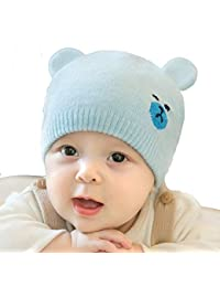 7e3d873f097 Infant Warm hat Boys and Girls Universal hat Knit hat Bear Ears Wool Cap  Baby hat