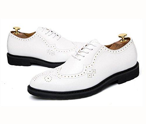 WZG Chaussures d'affaires des hommes de haute qualité, chaussures pointues en cuir hommes Shibu Locke sculpté chaussures plates en dentelle White