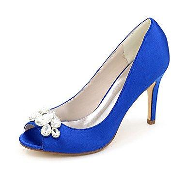 Wuyulunbi@ Scarpe donna raso Primavera Estate della pompa base scarpe matrimonio Stiletto Heel Peep toe strass per la festa di nozze & Sera Argento Rosso Blu Blue