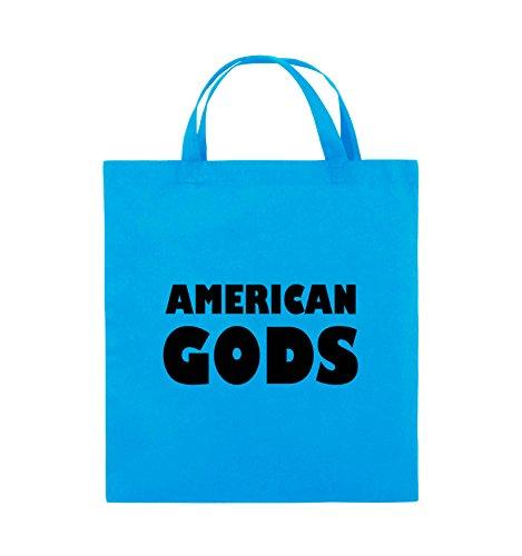 Borse Commedia - American Gods - Logo - Iuta - Manico Corto - 38x42cm - Colore: Nero Luce / Blu Argento / Nero
