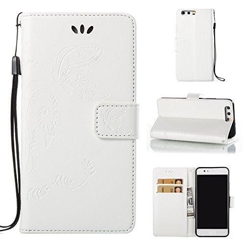 EKINHUI Case Cover Horizontale Folio Flip Stand Muster PU Leder Geldbörse Tasche Tasche mit geprägten Blumen & Lanyard & Card Slots für Huawei P10 ( Color : White ) White