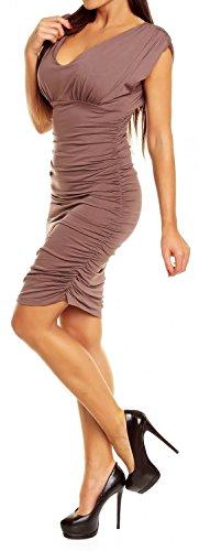 Glamour Empire Femme Robe tube plissée Robe d'été près du corps Sans manches 525 Cappuccino
