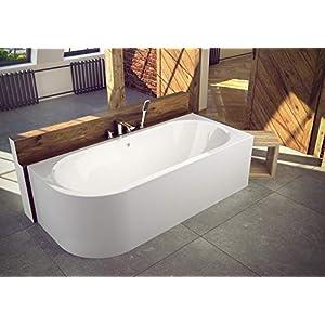 VBChome Badewanne 170x75 cm Acryl SET Schürze Siphon Wanne Ecke Eckbadewanne Weiß Design Modern Viega Simplex für 2 Personen RECHTS