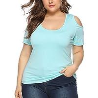 Tosonse Camiseta para Mujer Tops Loose Fit Cold Shoulder Music Tour Blusa De Cuello Redondo Unisex Tanques Camisas Color Sólido Camiseta De Manga Corta Túnica