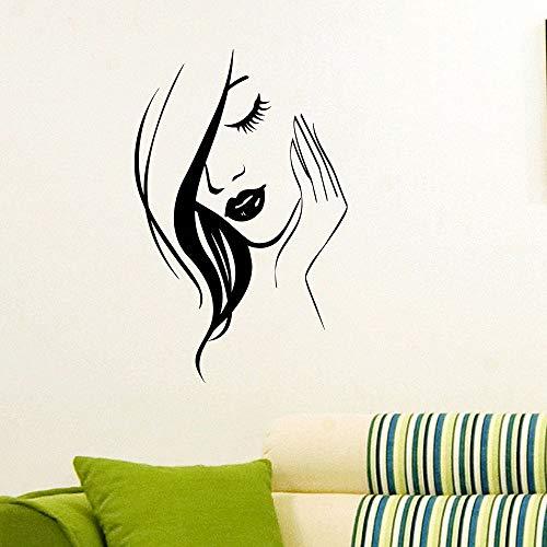 Salon de coiffure Vinyle Stickers Muraux Beauté Fille Mur Art Mural Salon Design Affiche Fille décoration de La Maison Amovible Sticker AY690-114x74 cm