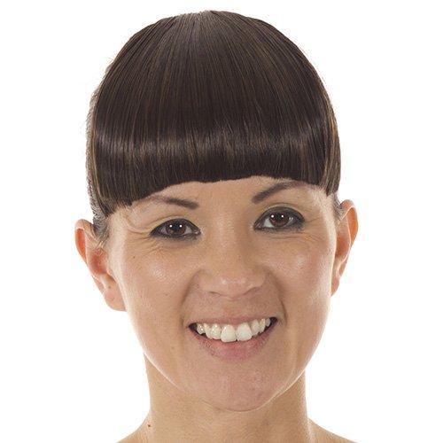 Frange raide à Clips Couleur Marron Foncée | Mèches de Côté Plus Longues Effet Cheveux | Frange à Clips Coupée au Carré Couleur Marron Profonde