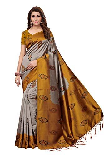 Anni Designer Art Silk with Blouse Piece Saree (SHILPA Yellow Free Size)