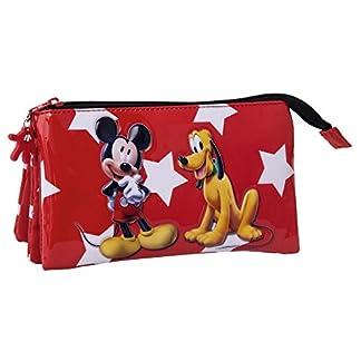 Disney Mickey y Pluto Estuche Tres Compartimentos, Color Rojo, 1.32 Litros